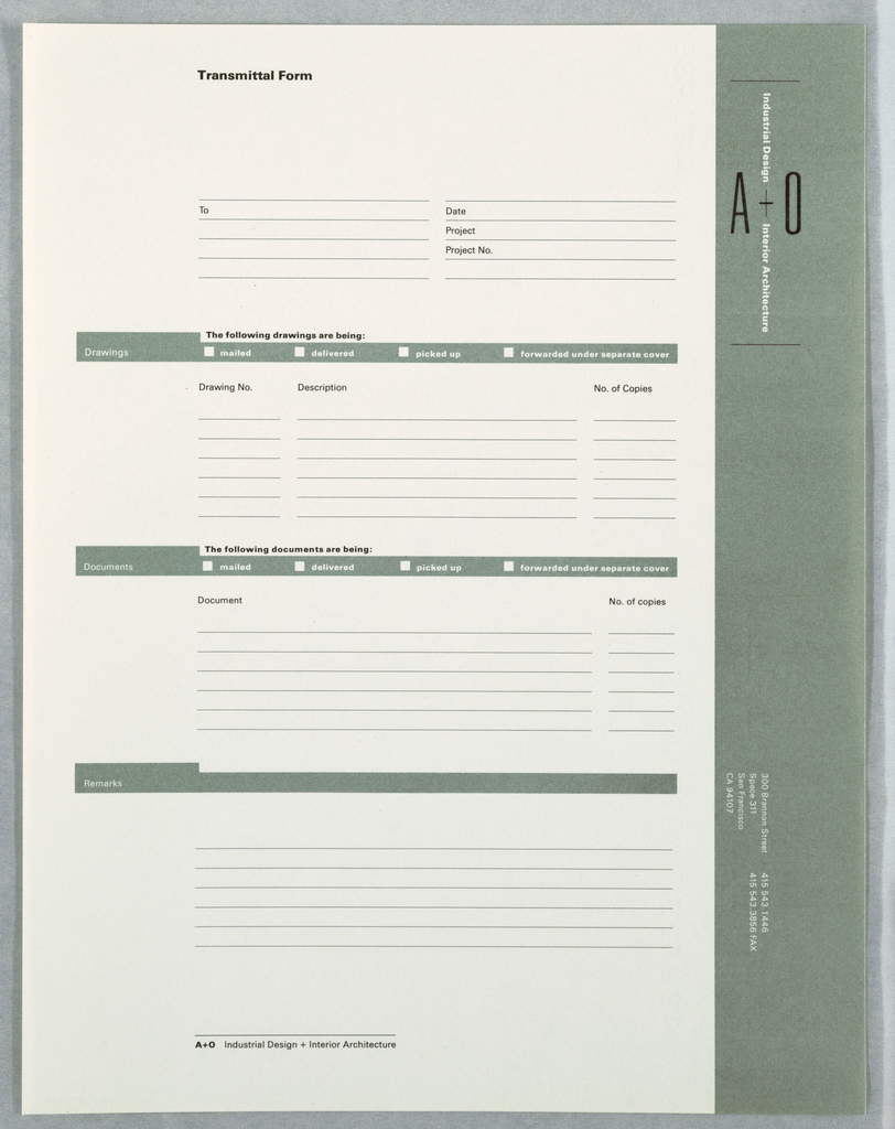 Transmittal form with corporate identity and text fields for information about drawings, documents, projects, with space for remarks. Logo along right edge of form on green ground running from top to bottom. See 1994-87-7/11 for logo description. Bottom of sheet: address (300 Brannan Street), phone and fax numbers facing to left side. Printed in green, black inks.
