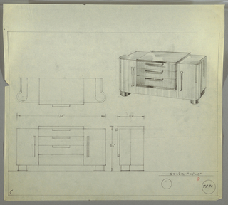 "Design for sideboard. At upper right, perspective shows rectilinear cabinet with rounded front side edges. Object rests on parallel, rectilinear feet that curl forward in circular plan at front mimicking overall plan. Three drawers, accessed by downward-curving pulls, set into center of cabinet; this box extends slightly above and out from main body. On either side of drawers, cabinet doors accessed by vertical pulls similar to those affixed to drawers. At upper left, a plan; at lower left, front elevation; at lower right, side elevation. Also at lower right is a detail of drawer handle in elevation. Inscribed ""K. 9/30/33"" and with Deskey No. 7266. Plan and front and side elevations with dimensions also included. Inscribed with Deskey No. 7980."