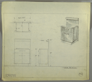 Design for cabinet with work surface and light. At upper right, perspective shows cabinet, possibly in burled wood, with built-in backsplash in same material, as well as a work light. Surface and toekick probably in Bakelite or lacquer. Cabinet consists of drawer accessed by horizontal pull, while below, two cabinet doors accessed by similar pull than spans divide and appears to be continuous rectangle. Drawer/doorfronts bulge at sides and are wider than main cabinet volume. Surface and toekick appear to be one continuous plane into which case piece is set. At upper left, plan with dimensions; at lower left, front elevation; at lower center, a side elevation. Inscribed with Deskey No. 7972.