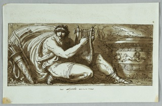 Apollo shown seated with his lyre, a clock streaming at left. To the right is an alter decorated with a frieze showing the signs of the zodiac.