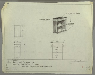 Drawing, Design for Low Bookcase
