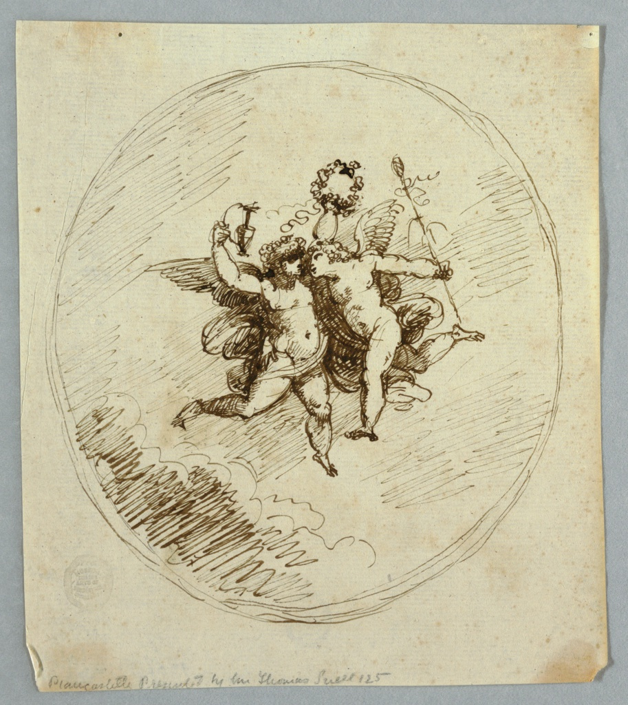 Vertical rectangle showing two loosely drawn putti in an oval frame. The left putto raises a pitcher and wreath, the right has a thyrsus.