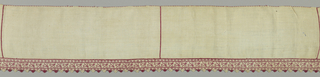 Band of white linen with one embroidered border in design of scrolls and acorns on angular stem, edging of needlepoint.