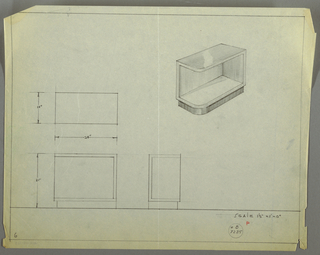 Design for end table. At upper right, perspective shows rectangular cabinet with one curved front corner. Open interior shelf space. Entire object rests on shallower base in contrasting material. At lower left, plan and front and side elevations with dimensions. Inscribed with Deskey No. B 7285.