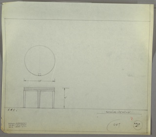 Plan and elevation drawing for round table with four saber legs; three decorative ridges around base of table.