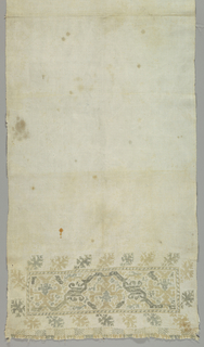 Plain natural linen with a border at each end embroidered in shades of blue-green and golden yellow, now faded. Each border is a panel containing an elaborage geometric floral vine with isolated geometric blossoms forming a continuous band of four sides. At each end is a narrow band with geometric patterned squares.
