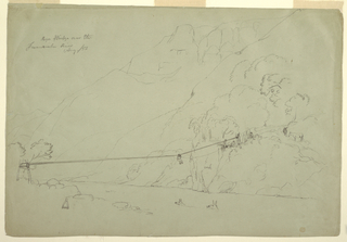 Drawing, A Rope Bridge in Colombia, August 1853