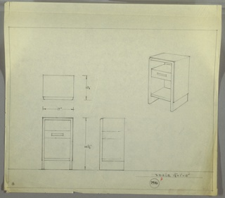 Perspective, plan, and elevation drawing for end table. Open shelf at top, drawer below, and larger open shelf at bottom. Panel around top and sides of table; two legs support unit.