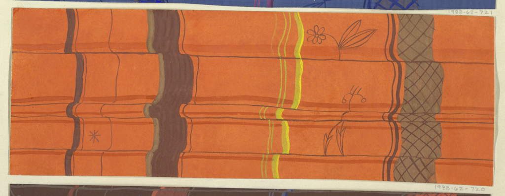 Vertical folded ribbons, thick and thin, in brown, yellow, and orange; outlines of flower, leaf, and asterisk in black ink.