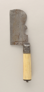 Large blade with straight lower edge. Decorative upper edge rounded towards the lower edge. Steel ferrule has worn floral pattern and an extension to which the blade is attached. Ribbed ivory handle, round in section. On top of handle a decorated steel mount and finial. Blade folds towards the handle.