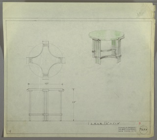 Perspective, plan, and elevation drawing for round end table. Lacquered green (or glass?) surface of table, with four legs. Legs composed of series of three squared tubular supports joined at bottom by band of metal. Metal band around bottom of legs also stretcher between all legs.