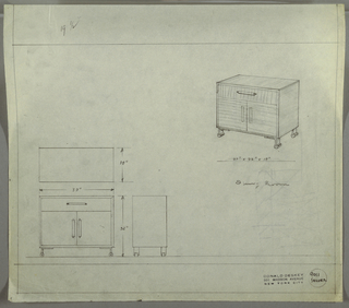 Design for server. At upper right, perspective shows squat rectangular case piece standing on four, probably metal, L-shaped legs set into cylindrical feet. One drawer above accessed by cylindrical pull set into rectangular mount with cabinet below with pulls roughly sketched. Material seems to be striated wood. At lower left, a plan, front elevation, and side elevation with dimensions. Inscribed with Deskey No. 9011.