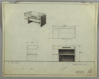 Perspective, plan, and elevation drawings for low, rectangular end table/coffee table. Thick surface of table in deep grained wood; drawer at right and open shelf below; asymmetrical placement of legs.