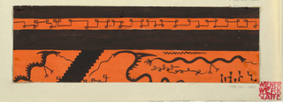 Pseudo-Greek key and stylized dragons in black and orange.