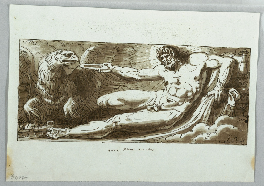 Jupiter shown recumbent, one leg extended. He holds a plate with a drink for the eagle.