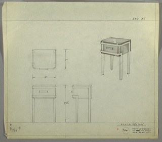 Perspective, plan, and elevation drawing for end table/night table. Square back edges and rounded front edges; surface in reflective material, Bakelite (?). Drawer below surface with rectangular pull. Straight, squared legs in lighter material than body of table; trim on upper and lower edge of drawer extended from legs.