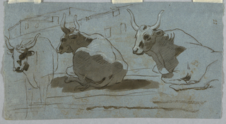At right, two recumbent bulls. A standing one at left. Behind, architecture.
