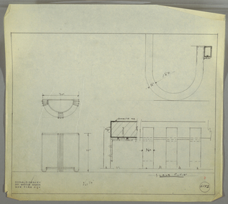 Elevation and plan for small console table. Semi-circular top of table in Bakelite with three legs; legs composed of three strips of squared, tubular metal; rounded feet of table form stretcher.