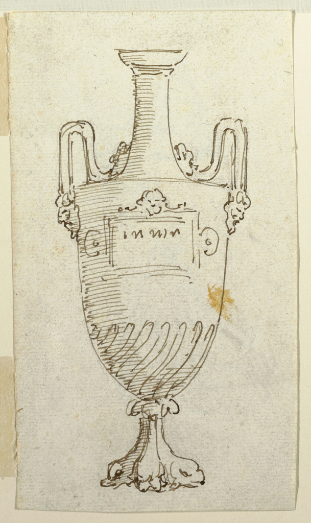 Elevation of an urn with handles springing from masks and terminating in birds.