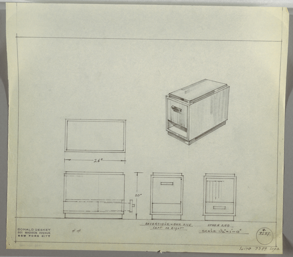 "Design for reversible end table with shelf and drawer seen in plan, side, front and rear elevations, and perspective. At upper right, perspective shows rectangular end table situated on smaller rectangular foot. In this view, main volume is open at bottom forming a shelf while above a square drawer is accessed by a rectangular pull. The top surface is smaller panel. At center left, plan describes object footprint while below, side elevation details arrangement of drawers and shelves on either side. At lower center, front elevation shows square drawer above shelf (as seen in perspective) while at right, additional elevation view describes opposite side with rectangular drawer at bottom and storage space above. Margins ruled in graphite. Inscribed with Deskey No. 8281 with note in lower right margin citing ""SUITE 7389 SOFA."""