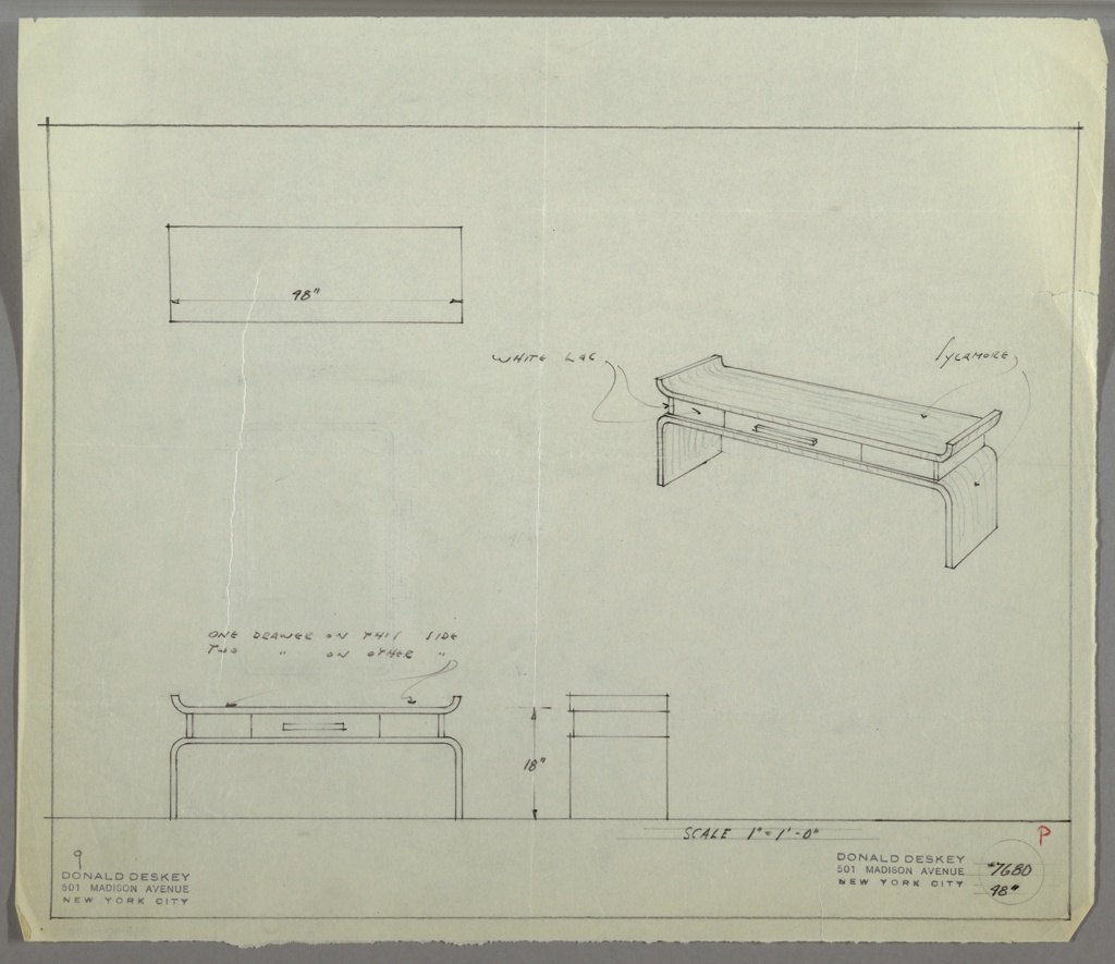 Perspective, plan, and elevation drawing of long, rectangular vanity table. Two sides on top of table curve upward, and base/legs curve downward. Top and base of table in sycamore. Three drawers between top and base with rectangular pulls; large drawer at center on one side, and two smaller drawers on the ends on the opposite side. Drawers in white laquer.