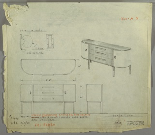Perspective, plan, and elevation drawing for sideboard. Rounded front edges with two side cabinets and three stacked drawers. Four legs are squared and tapered. Darker wood on body and top of table, and lighter wood on side cabinets. Pulls on cabinet doors are circular ivory disks on polished chrome base.
