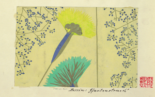 Stylized fan-shaped flowers in yellow, blue, and green with sprays of yellow and blue buds on a cream ground.