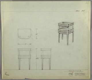 Perspective drawing for an end table (bedside table?). Open shelf below top surface with four straight legs. Bakelite or metal table top and trim throughout legs and base. Top is square at back and rounded front.