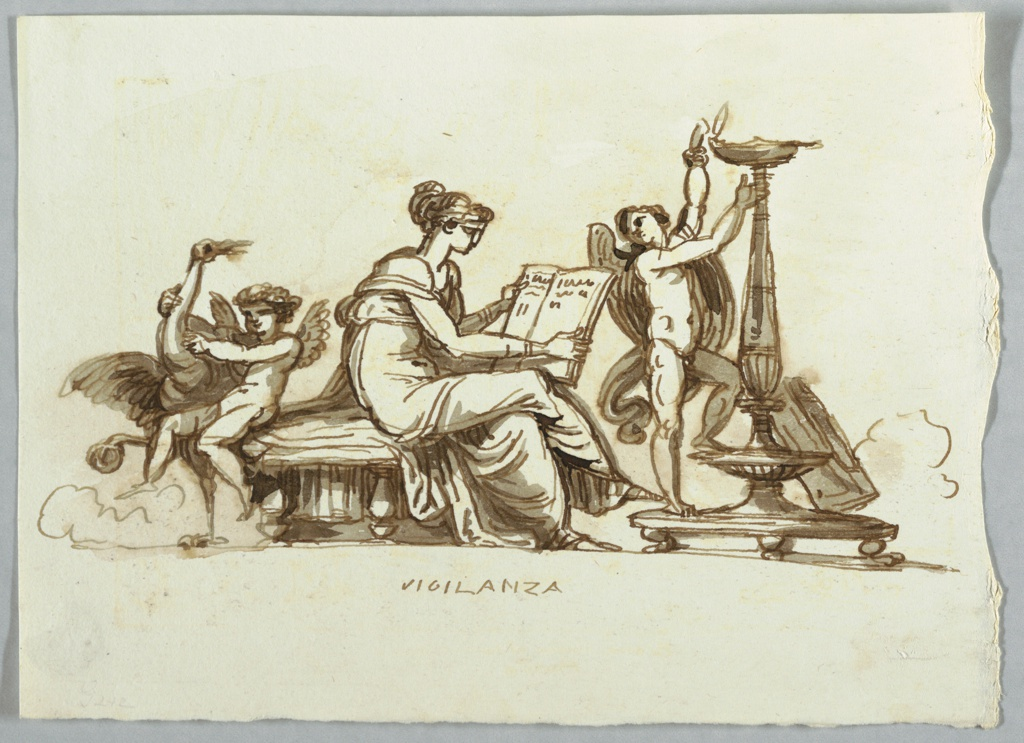 Woman shown seated upon bed and reading book. Putto lights lamp, another restrains crane.