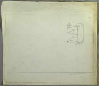 Perspective drawing for night table. Rectangular in overall shape with rounded edges on all sides. Drawer at top with rectangular pull at left; two open shelves below drawer. Table on two short feet.