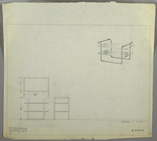 Perspective, plan, and elevation drawing for table/end table. Tubular metal frame in U-shape with handles at each end supporting two rectangular glass surfaces.