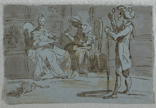 An old man with a staff standing at right looks through a lorgnon (monocle) at a young girl seated at left. She is accompanied by a sewing chaperone. A cat with a string lays on the floor.