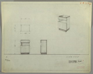 Perspective, plan, and elevation drawing for small end table/night table of various woods. Top of table and base in darker wood, body of table in lighter wood. Narrow drawer below top of table, no drawer pull. Open shelf below drawer, and larger drawer at bottom of table with no drawer pull.
