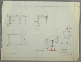 Perspective, elevation and plans for end table. Surface of table has squared edges on upper left and lower right, and rounded edges in upper right and lower left. Legs of table are metal strap on upper left and lower right, and metal tube in upper right and lower left. Sleigh legs on both sides in metal strap.
