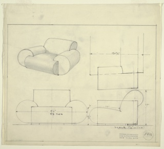 Drawing, Design for Club Chair and Sofa: Upholstered, 1935–1943