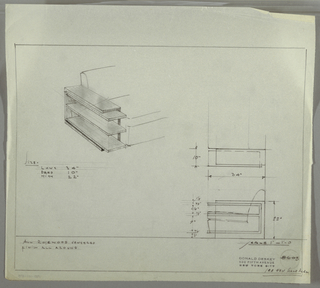 Design for rosewood-veneered end table. At upper left, perspective view of object in intended location next to armless sofa or divan. Rectangular frame open to front into which three longer shelves extend forward; the top shelf creates a split-level top surface. At lower right, plan and side views. Inscribed with Deskey No. 8603, crossed out with reference to new scale diagram.