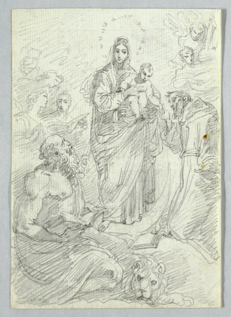 At center, the Virgin holds the Christ Child. Below, Saint Jerome and the lion.