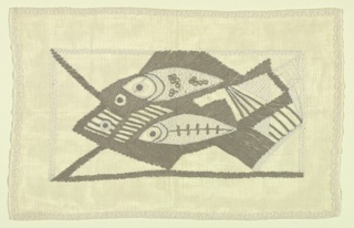 Panel of cream white linen embroidered in grey and white in a pattern of stylized fish, horizontally arranged.