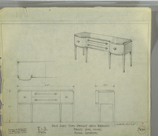 Design for sideboard. At upper right, perspective view of oblong object with curved front corners and bulges on either side. Top in straight grain mahogany; fronts in swirl mahogany; interiors in mahogany. At center, stack of two horizontal drawers in light, vertically striated, accessed by ball knobs on either side, sent into horizontal mount that runs between them. On either side, curved-front drawers with ball knobs at center. Below, line of trim runs perimeter. Supported by six square-plan tapered legs. Plan, front and side elevations also shown. Inscribed with Deskey No. 7600.