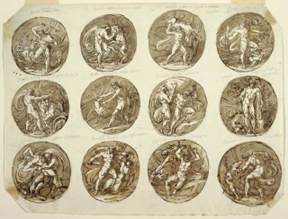Top row: Hercules battling Hydra with torch. Captions written in graphite over medallions: Ercole ammazza lidra. Hercules strangles lion of Nemea. Caption: ercole amazza il leone nemeo. Hercules carries boar, ercole porta il cignale al evristeo.  Hercules holds horns of bull Achelous, ercole vince il frume Acheloo. Hercules captures stag Ercole ammazza...la cerva. Hercules taking heavens on his shoulder, Ercole airta atlante. Hercules resting beside killed dragon, Ercole ucide il drage nel orti/ esperidi. Bottom row: Hercules strangling Antaeus, Ercole sofoca Anteone.  Hercules slaying Hypolyta, ercole doma la Ammazoni. Hercules battling eagle for delivering Prometheus, Ercole libera Prometee. Hercules chaining Cerbenus, Ercole incatena il Gerbee. Verso: Nine medallions outlined, showing Hercules battling Hydra.