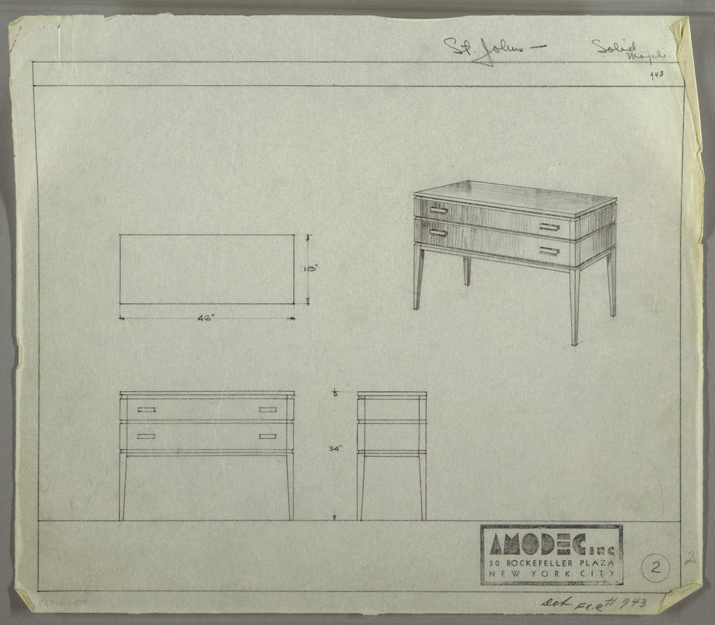 Drawing, Design for Amodec Sideboard #943