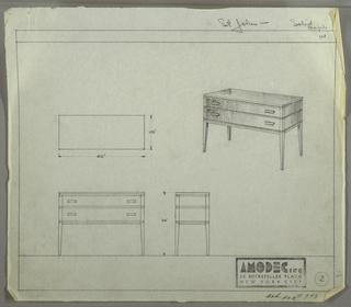 Design for Amodec sideboard #943. At right, perspectival drawing shows rectangular, planar case piece resting on tall, square-plan tapered legs. Two stacked drawers run object's width and are accessed by rectangular pulls affixed on either side. Drawer fronts and sides in vertically striated wood; base and top in different material. Also shown are plan and front and side elevations.