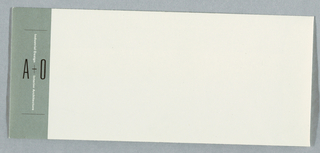 Cream envelope with light green rectangle at left edge; with text in black and white: Industrial Design A + O Interior Architecture.