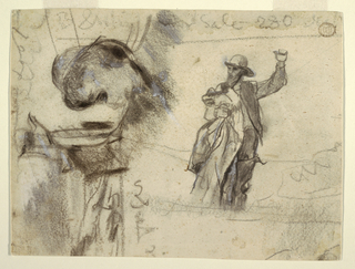 Sketch of the head and shoulders of sailor, wearing a wide-brimmed hat and holding a coat (a sou'wester), at right. Another sailor, nearly full-length, with left arm raised, is shown wearing rain hat and yelling. A sketch of clouds and sea appears at left.  Various notations at the margins.