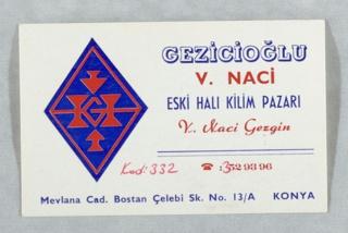 Business Card, Gezicioglu, V. Naci, Eski Hali Kilim Pazari
