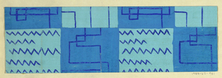 Line motif with zigzags and checkboard pattern in shades of blue.