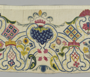 "Border from the bottom of a skirt, of heavy twill weave cotton, embroidered in polychrome wool. A formal arrangement of stylized enframements, with foliage flower clusters, and lattice-like forms between. Worked in chain stitch, knots etc. Skilful shading of blues, reds and greens in larger areas. Material is 17 1/2 "" wide and three selvages present, on reverse; band is 1m long and 22cm top to bottom."
