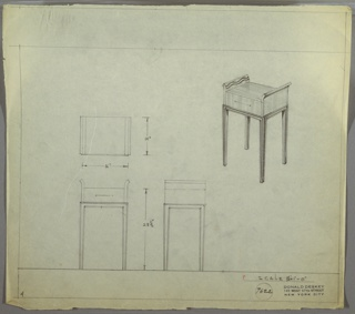 Perspective drawing of end table in upper right corner of drawing with elevations at the left. Small, rectangular unit with one drawer above four, long straight legs. Side panels on drawer extend beyond the top of the unit and curve outward. Two wavy decorative lines on extended panel above surface. Legs have incised (?) linear decoration.