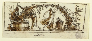 Horizontal rectangle with classical figures. Woman at right harvesting grapes from the vine. Man at left pouring them into a vat, under the watchful gaze of theatrical masks.
