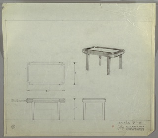Perspective, plan, and elevation drawing for coffee table. Sunken surface of table in glass or another reflective material, surrounded by ledge of metal or wood. Rounded corners around table and straight, rectilinear legs. Protruding strip on two ends of table are indication of drawer or extension piece.